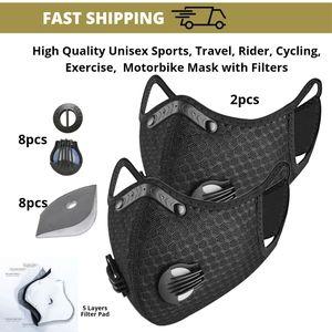 Motorbikers Washable Mask Rubber Nose Bridge | 4-5 layers Filter Pad | Valves